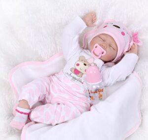 "Reborn Baby Dolls 22"" Cute Realistic Soft Silicone Vinyl Dolls Newborn Baby Dolls with Clothes"